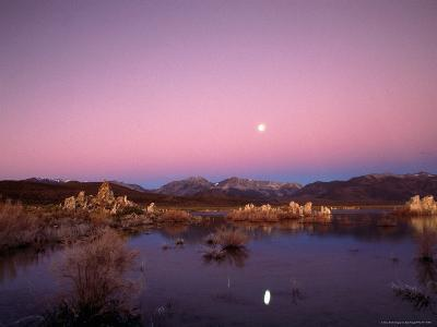 Moon Over Sierra Mountain Range, CA-Kyle Krause-Photographic Print