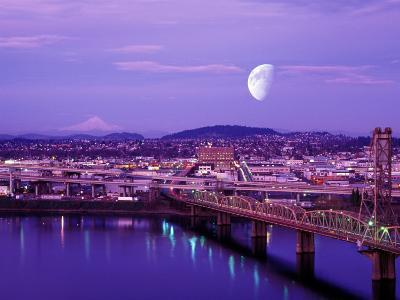 Moon Over the City with Mt Hood in the Background, Portland, Oregon, USA-Janis Miglavs-Photographic Print