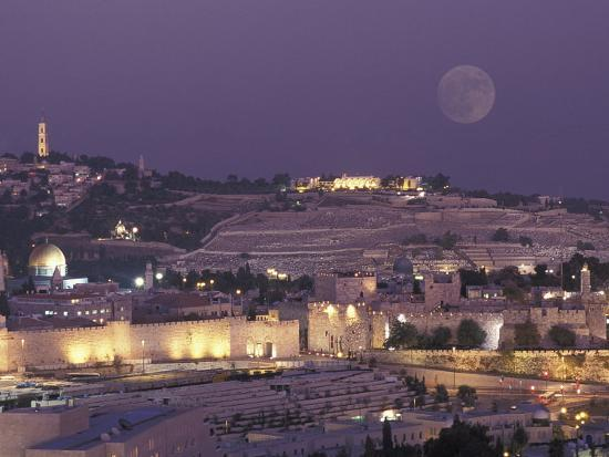 Moon over the Dome of the Rock and Mount Olives in Jerusalem, Israel-Richard Nowitz-Photographic Print