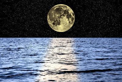 Moon Over the Sea, Composite Image-Victor De Schwanberg-Photographic Print