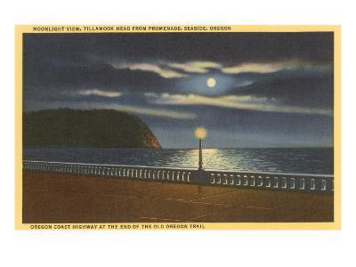 Moon over Tillamook Head, Seaside, Oregon--Art Print