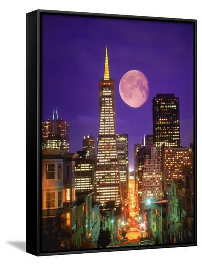 Moon Over Transamerica Building, San Francisco, CA-Terry Why-Framed Canvas Print