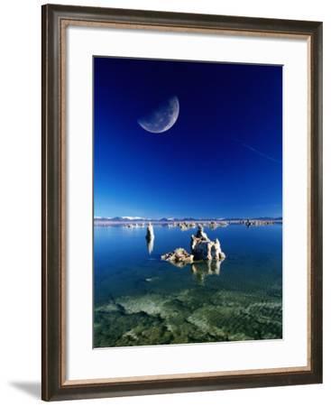 Moon Over Tufa Formations, Mono Lake Tufa State Reserve, Mono Lake, U.S.A.-Mark Newman-Framed Photographic Print