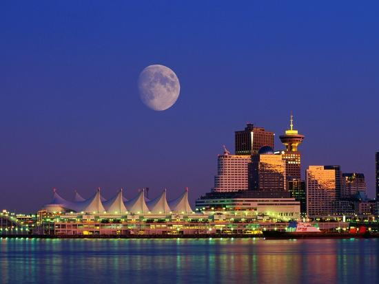 Moon Over Vancouver and Coal Harbor-Ron Watts-Photographic Print