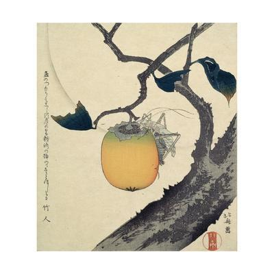 Moon, Persimmon and Grasshopper, 1807-Katsushika Hokusai-Giclee Print