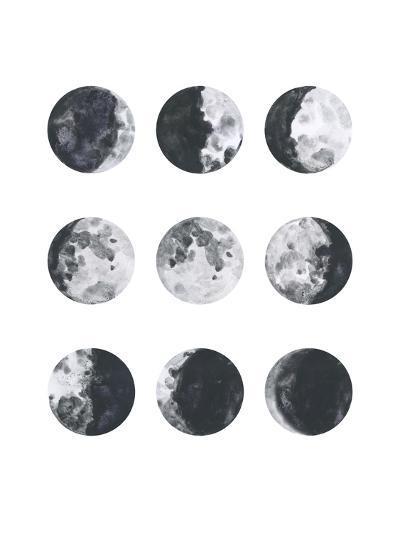 Moon Phases Watercolor I-Samantha Ranlet-Art Print