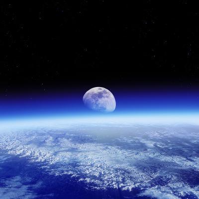 Moon Rising Over Earth's Horizon-Detlev Van Ravenswaay-Photographic Print