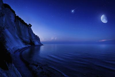 Moon Rising over Tranquil Sea and Mons Klint Cliffs, Denmark--Photographic Print