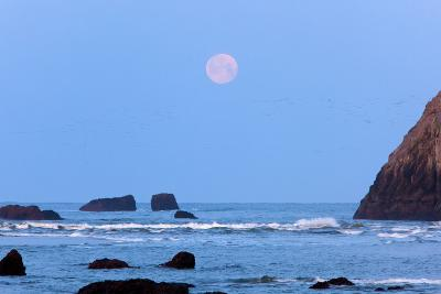 Moon Set over Rock Formations at Low Tide, Bandon Beach, Oregon, USA-Craig Tuttle-Photographic Print
