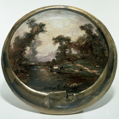 Moon-Shaped Plate with Landscape, 1890, Ceramics--Giclee Print