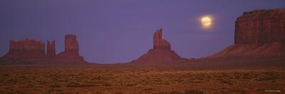 Moon Shining over Rock Formations, Monument Valley Tribal Park, Arizona, USA--Photographic Print