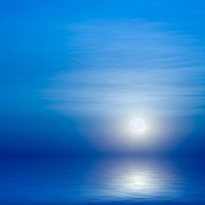 Moon, Sky And Blue Sea-alanuster-Art Print