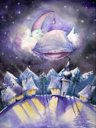 Moon Sleeping on a Cloud.Watercolors.-DannyWilde-Art Print