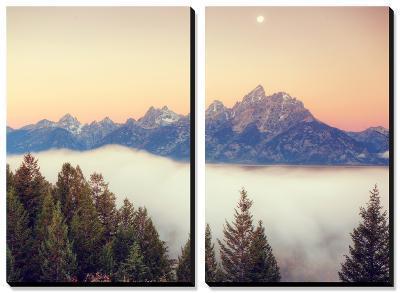 Moonlight and Foggy Snake River Overlook, Grand Teton-Vincent James-Canvas Art Set
