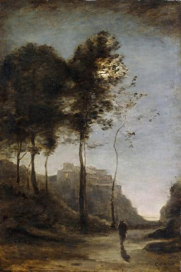 Moonlight on the Edge of the Gulf, C.1855-60-Jean-Baptiste-Camille Corot-Giclee Print