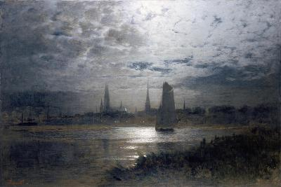 Moonlight over Luebeck-Louis Douzette-Giclee Print