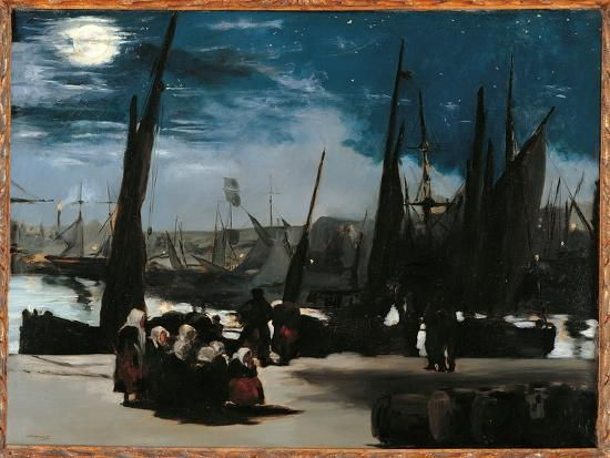 Moonlight Over the Port of Boulogne-Edouard Manet-Giclee Print