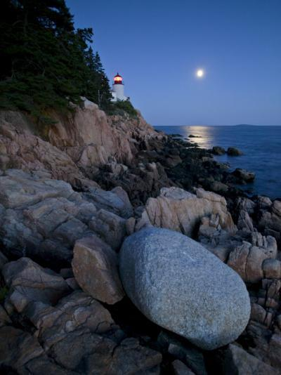Moonlight Reflected in the Ocean Near the Bass Harbor Light House-Michael Melford-Photographic Print