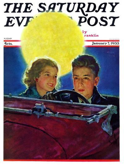 """""""Moonlit Car Ride,"""" Saturday Evening Post Cover, January 7, 1933-Eugene Iverd-Giclee Print"""