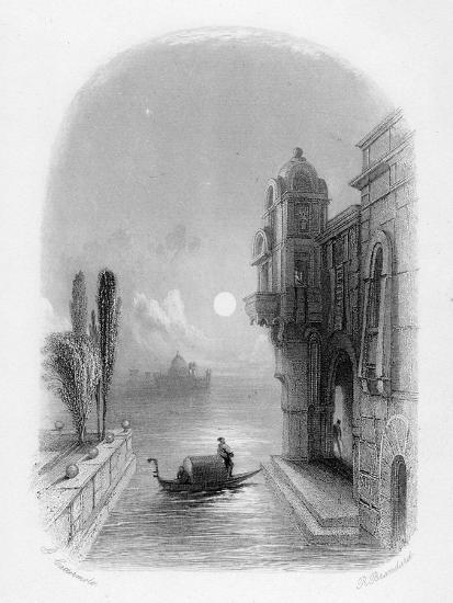 Moonlit Scene in Venice, Engraved by Robert Brandard, 1846 (Engraving)-George Cattermole-Giclee Print