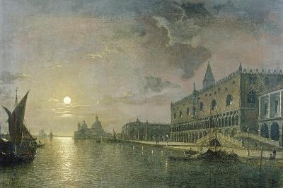 Moonlit View of the Bacino Di San Marco, Venice, with the Doge's Palace-Henry Pether-Giclee Print