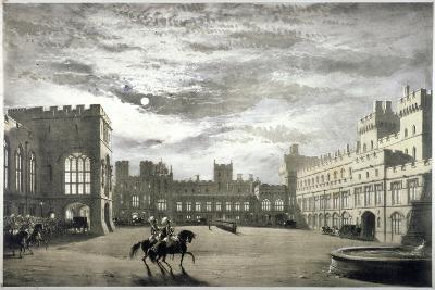 Moonlit View of the Upper Ward of Windsor Castle, Berkshire, C1844--Giclee Print