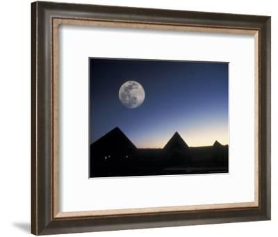 Moonrise above Giza Pyramids in Egypt-Richard Nowitz-Framed Photographic Print