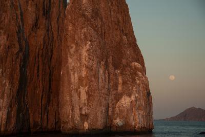 Moonrise Above Sleeping Lion Rock Off San Cristobal in the Galapagos-Karen Kasmauski-Photographic Print
