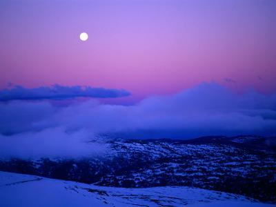 Moonrise and Sunset on Main Range in Winter, Kosciuszko National Park, New South Wales, Australia-Grant Dixon-Photographic Print