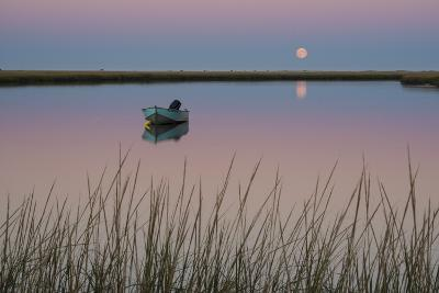 Moonrise at Sunset and a Lone Boat in Salt Pond Bay, Eastham, Cape Cod, Massachusetts-Michael Melford-Photographic Print
