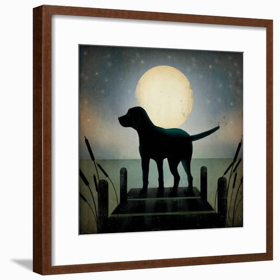 Moonrise Black Dog-Ryan Fowler-Framed Art Print