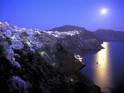 Moonrise on Santorini, Greece-Kevin Beebe-Photographic Print
