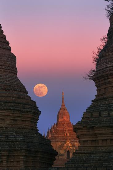 Moonrise over Bagan-Jon Hicks-Photographic Print