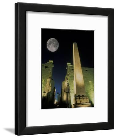 Moonrise over Luxor Complex in Luxor, Egypt-Richard Nowitz-Framed Photographic Print