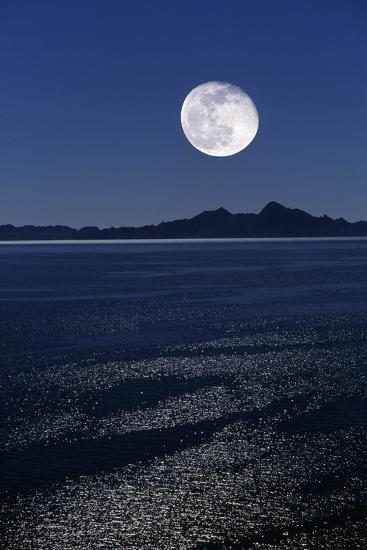 Moonrise Over Sea-David Nunuk-Photographic Print