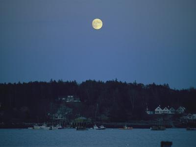 Moonrise over the Coastline of Friendship, Maine-Nick Caloyianis-Photographic Print