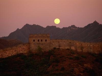 Moonrise over the Great Wall-Raymond Gehman-Photographic Print