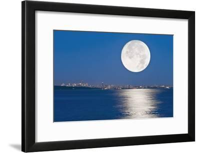 Moonrise Over Vancouver Harbour-David Nunuk-Framed Photographic Print