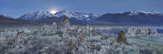 Moonrise, Tuff, Mono Lake, Sierra Nevada, California, Usa-Rainer Mirau-Photographic Print