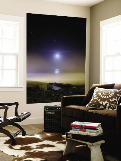 Moonset Over the Sea with Pleiades Cluster--Wall Mural