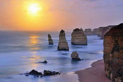 Moonset over Twelve Apostles in Victoria, Australia-Nokuro-Photographic Print