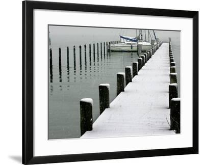 Moored Boats and a Dock are Covered by Overnight Snow at Lake Chiemsee--Framed Photographic Print