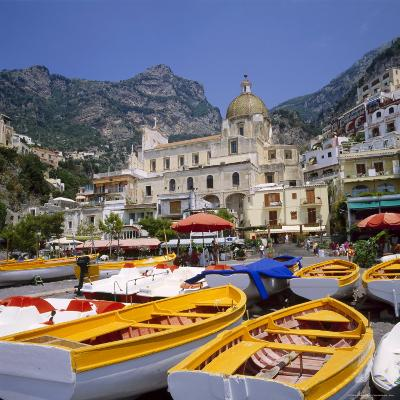 Moored Boats and Church, Positano, Campania, Itay-Roy Rainford-Photographic Print
