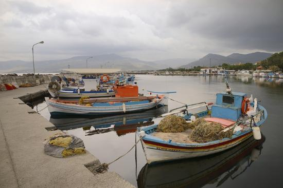 Moored Fishing Boats in Apothika Village Harbour, Greece-Nick Upton-Photographic Print