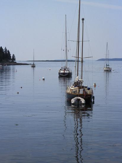 Moored Sailboat Near New Harbor, Maine-Scott Warren-Photographic Print