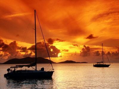 Moored Yachts at Sunset, Tortola, Virgin Islands-John Elk III-Photographic Print