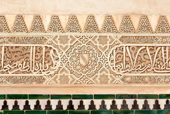 Moorish Plasterwork and Tiles from inside the Alhambra Palace-Lotsostock-Photographic Print