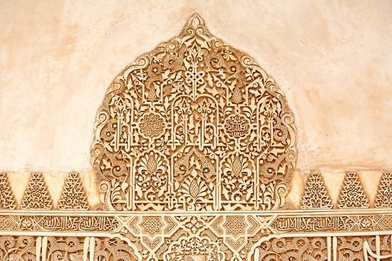 Moorish Plasterwork from inside the Alhambra Palace in Granada-Lotsostock-Photographic Print