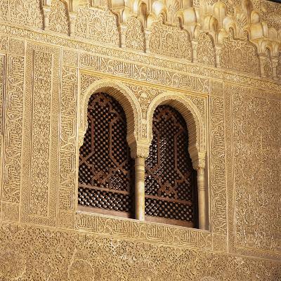 Moorish Window and Arabic Inscriptions, Alhambra Palace, UNESCO World Heritage Site, Spain-Stuart Black-Photographic Print