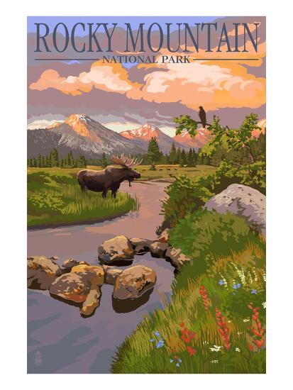 Moose and Meadow - Rocky Mountain National Park-Lantern Press-Premium Giclee Print